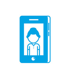 silhouette smartphone technology with man picture vector image