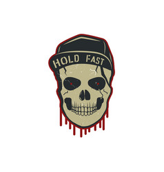 Skull charactre with blood stains cap vintage vector