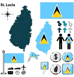 St lucia map vector