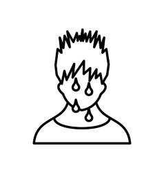 Sweaty man icon outline style vector