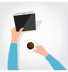 The person using the digital tablet ipad style vector