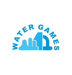 water games logo emblem for inflatable park vector image
