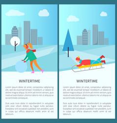 Wintertime activities woman in earphones makes vector