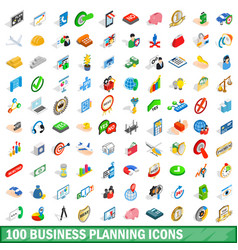 100 business planning icons set isometric style vector image vector image