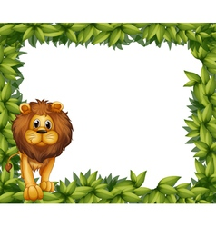 A lion in front of an empty leafy frame vector