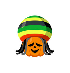 rasta halloween rastaman hat and dreadlocks vector image