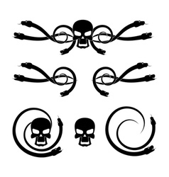 Skull and snake vector image
