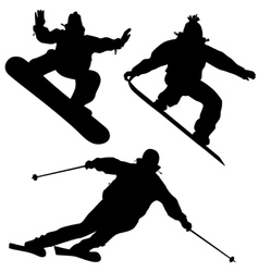 Collection snowboarders and a skier vector