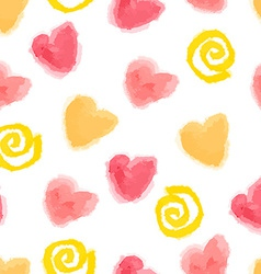 Seamless watercolor hearts and swirls pattern for vector