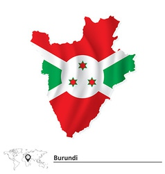 Map of burundi with flag vector