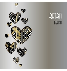 Retro love card Heart design with silver vector image