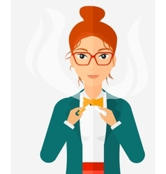 Woman quit smoking vector