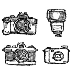 Scribble series - cameras vector