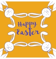 Happy easter poster frame from hare ear vector