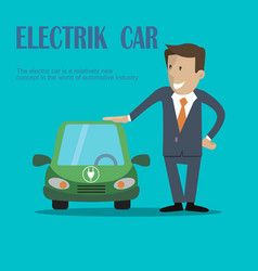 A man stands near electric car vector
