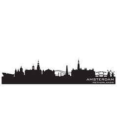 Amsterdam netherlands skyline detailed silhouette vector