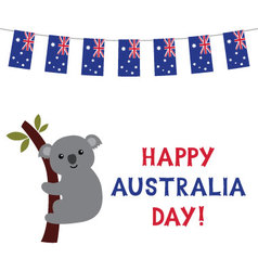 Australia day card with a koala vector