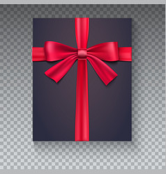black gift box with red ribbon isolated on vector image