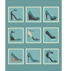 Blue fashionable women high heels shoes icons set vector