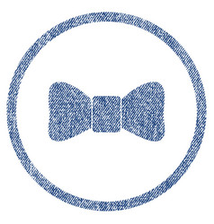 Bow tie rounded fabric textured icon vector
