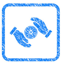 Cardano coin care hands framed stamp vector