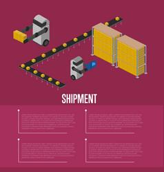 Cargo shipment isometric banner vector