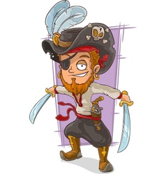 Cartoon pirate with swords and eye vector