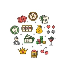 Casino Round Design Template Thin Line Icon vector image