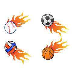 Color fire ball logo icons vector