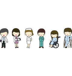 Doctors nurse and patients vector