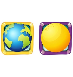 Earth and moon on square badges vector image vector image