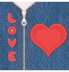 Element of clothes with zipper and heart vector