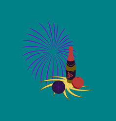 Flat on background of champagne candles fireworks vector