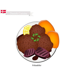 frikadeller or fried beef patty popular dish in d vector image vector image
