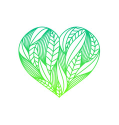 Heart composition made of green gradient linear vector