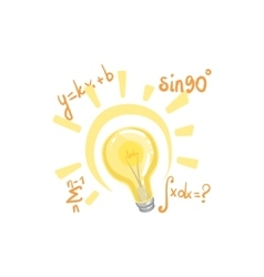 Idea bulb surrounded by mathematical formulas vector