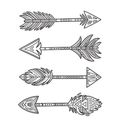 ink native american indian arrows in ethnic style vector image vector image