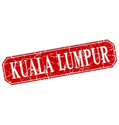 Kuala lumpur red square grunge retro style sign vector