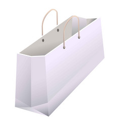 Paper shopping bag with handles 3d realistic white vector