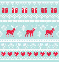 Reindeer pattern christmas seamless design vector