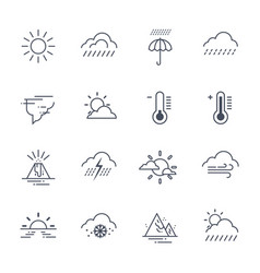 set of weather icons on white background climate vector image