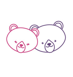 silhouette cute bear head animal couple together vector image vector image