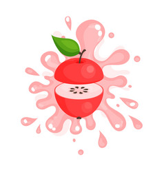 Sliced red apple juice splashing colorful fresh vector