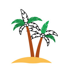 Tree palm summer icon vector