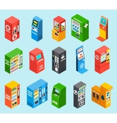 Vending dispensing machines isometric icons vector