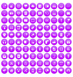 100 information technology icons set purple vector