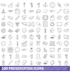 100 presentation icons set outline style vector image