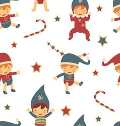 Christmas babies pattern vector image