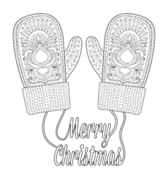 Warm knitted mittens vector