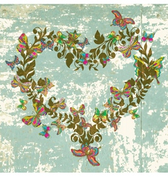 Vintage floral heart with butterflies vector